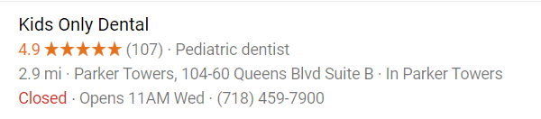 Kids Only Dental Pediatric Dentistry of Flushing Google Reviews Screenshot